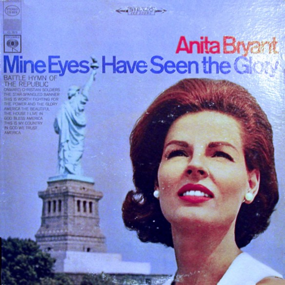 Liberty turns her back as Anita Bryant looks to the sky, expecting Jesus to fly down and smite the gays.