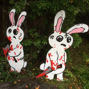 bunnies in the woods