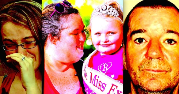 Broken portrait of an exploited family unit--Anna Marie, Mama June, Honey Boo Boo, and Mark McDaniel.