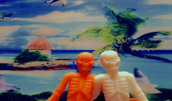 Stock photos of happy and/or upset couples just aren't fun--but a rubber skeleton couple on vacation in an island paradise, possibly being swarmed by gulls...