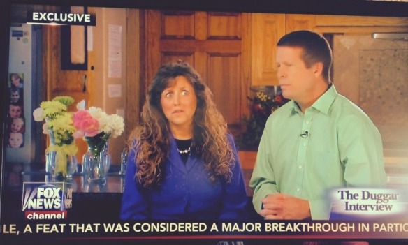 Michelle Duggar struggles to remember just which offensive thing it was that she was supposed to say about transgender people.