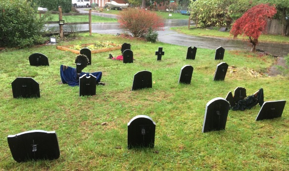 From the back--all blacked out and much less sloppy--note, I am talking about the tombstones and zombies, not the deplorable state of my landscaping.
