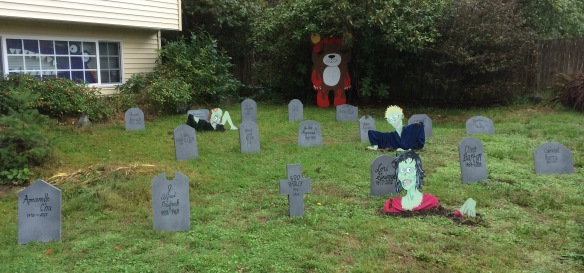 The graveyard--along with Murder Teddy and the purple alligator monster that lives downstairs.
