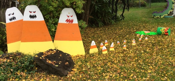 The original candy corn gang plus the still-mutating mutant, but much smaller, candy corn.