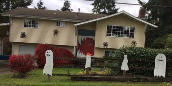 Ghost parade in front of the house.